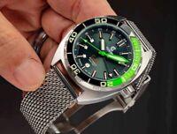 Ocean Crawler Core Diver GMT Watch Black/Green Sapphire Crystal & Bezel 44mm NEW