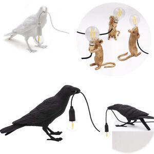 Mouse/Bird/Table Lamp Black/White/Gold Resin Bulb Holding  Bedside Bedroom Light