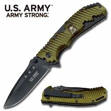 """US Army """"Big Voice"""" Spring Assisted Folder Knife - Green"""