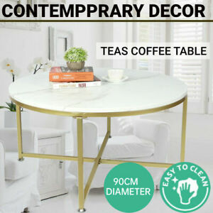 Round Coffee Table SideEnd Tables Bedside Imitation Marble Effect Gold Metal Leg