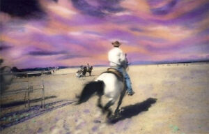 PADGETT MCFEELY RIDE UM COWBOY SILVER GELATIN PRINT w/OIL LITHOGRAPH HAND SIGNED