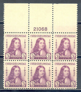 US Stamp (L1632) Scott# 724, Mint HR OG, Nice Plate Block of 6