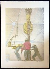 Pete Peterson TONGS Etching Oil Well HAND SIGNED FINE ART, SUBMIT OFFER
