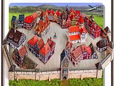 Mittelalterliche Kleinstadt 30 Häuser Stadtmauer zum Ausschneiden 1:250 Spur Z