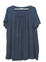 Croft&Barrow Women's Navy Blue Top Blouse Pleated Neckline Short Sleeve Size 2X