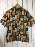 Tori Richard Hawaiian Aloha Shirt Size L Leaves Cotton Lawn Mother Pearl Button