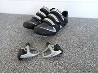 dhb cycling shoes size 43 uk size 9 with shimano pedals and cleats