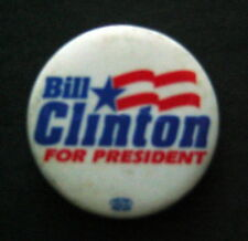 "BILL CLINTON For President Political Campaign PIN 1 1/2"" Round"