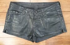 ZARA Wax Coated Black Denim Biker Shorts / Hot Pants - Leather Look - Size Small