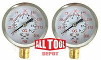 """Qty 2 Air Pressure Gauge 2"""" Side Mount 1/4"""" NPT 2"""" Dial - 0 to 200 PSI"""