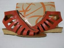 Via Spiga Size 7.5 M Park Red Leather Gladiator Sandals Wedges New Womens Shoes
