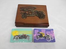 Old Vtg 1985 2 DECKS PLAYING CARDS w/ Wood Storage Box Automobile Car Motif