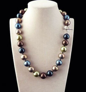 Rare Huge 12mm Round Genuine Multicolor South Sea Shell Pearl Necklace 18'' AAA