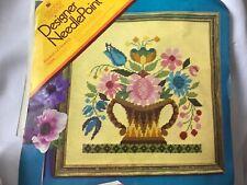 Vintage 70's Columbia-Minerva Needlepoint Kit Floral Basket of Flowers