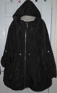 Womens🦋YOURS🦋black hooded longline parka jacket size 22/24