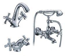 Rubinetto Miscelatore monocomando lavabo bidet vasca set 3 pz serie Sofia cromo