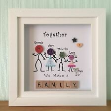 Personalised Box Frame Family Button Heads Scrabble Christmas Buttons Gift.