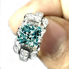 2.28 Ct Vvs1WHITE SKY BLUE CUSHION MOISSANITE DIAMOND 925 SILVER Engagement RING