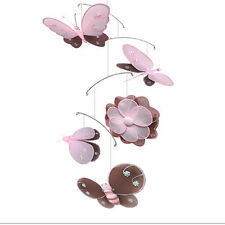 Nursery Hanging Mobile Butterfly Dragonfly Ladybug Bee Flower Hailey Brown Pink