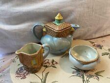 Rare ANTIQUE CHILD'S Doll TEA SET English Pottery Blue Clouds Castle
