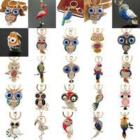 New Pretty Owl Womens Key Ring Bag Charm Rhinestone Crystal CZ Keyring Keychain