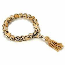 GENUINE CAMEL BONE WRIST MALA Yin Yang 10mm Prayer Bead Bracelet Stretch White