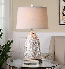NEW CAPIZ SHELL TILES TABLE LAMP LINEN SHADE BRUSHED NICKEL METAL BEACH LIGHT