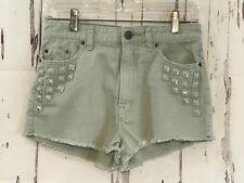 BDG Women's Shorts 27W Denim Studded High Rise Dree Cheeky Ripped Light Green