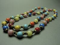 Vintage Bohemian Czechoslovakian Multi-Colored Harlequin Glass Bead Necklace