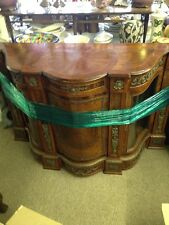 Empire Burl Walnut Italian Entry Piece with China Art Display Sideboard Cabinet