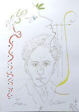 """""""Hommage à Jean Cocteau"""" dessin, portrait, Orphée, lyre,"""
