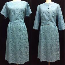 Vintage 1950's CAROL BRENT Blue Lace Sheath Dress with Matching Bolero Jacket