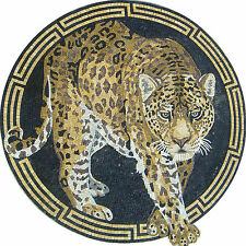 Round Medallion Leopard Figure Marble Mosaic AN358