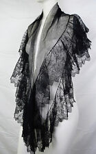 Antique Victorian 1880s LOVELY Chantilly Ruffled Lace Shawl Bustle Era