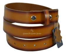 Men Genuine Real Cow Hide Leather Belt Strap Stud Snap Clip On 38 mm Waxed 615