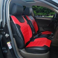 2 front Car Seats Covers Cushions Red/Black PU Leather for Dodge 802E