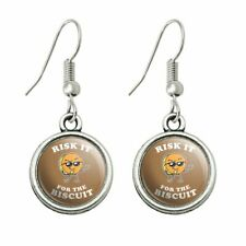 Humor Novelty Dangling Drop Charm Earrings Risk It for the Biscuit Funny