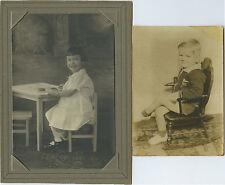 Two Studio Photos Children Blond Hair Boy Girl w Bangs Bow Rocking Chair Table