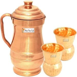 Best Pure Copper Jug Pitcher 1800 ML with 2 Tumblers Best Quality Drinkware Set
