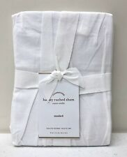 NEW Pottery Barn Hadley Ruched Cotton STANDARD Pillow Sham~White