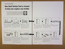 1966 Shell Turbine Jet Fuel cleaning transportation process chart art vintage Ad