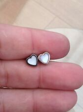 SILVER MOTHER OF PEARL HEART EARRINGS SMALL PRETTY