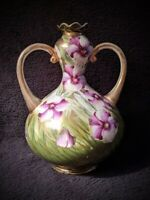 Antique 1891 Nippon Vase Purple Flowers Gold Green Grass Art Nouveau 2 Handle