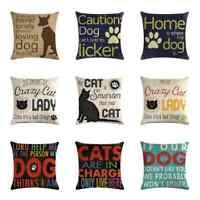 Letter Home Dog Cotton Linen Pillow Case Sofa Waist Throw Cushion Cover Decor
