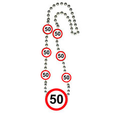50TH BIRTHDAY PARTY BEADED NECKLACE AGE TRAFFIC SIGNS