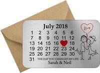 Personalised valentine Date Keepsake metal wallet card valentines gift love you