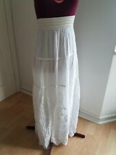 Sugar Crisp Maxi Skirt White Gypsy Holiday One Size Italy 100% Cotton H