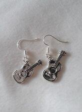 "Handmade acoustic guitar pair of earrings (""antique silver"")"