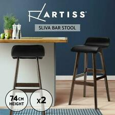 RETURNs Artiss 2 x Bentwood Bar Stools Wooden Bar Stool Chairs Kitchen Leather B