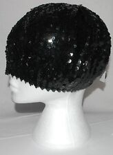 Mujer Boina NEGRO BRILLANTE CON LENTEJUELAS Sombrero punto a003.31 Disfraz